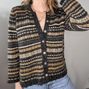 Vintage fuzzy collared cardigan
